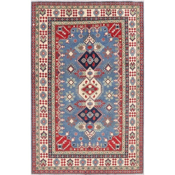 "Kazak Oriental Hand Knotted Wool Pakistani Area Rug - 9'11"" x 6'6"""