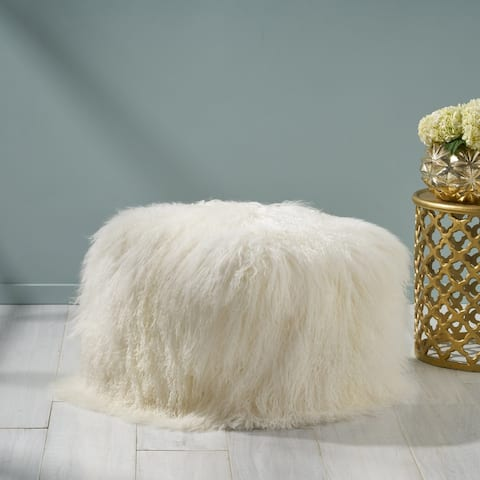 Bo Peep Glam Lamb Wool Square Pouf with Filling by Christopher Knight Home
