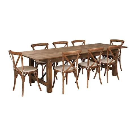 Flash Furniture Hercules Series 9' x 40'' Antique Rustic Folding Farm Table Set with 8 Cross Back Chairs and Cushions