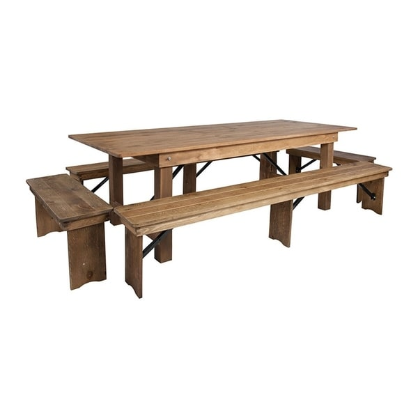 Flash Furniture Hercules Series 8' x 40'' Antique Rustic Folding Farm Table and 4 Bench Set