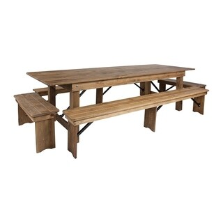 Flash Furniture Hercules Series 9' x 40'' Antique Rustic Folding Farm Table and 4 Bench Set