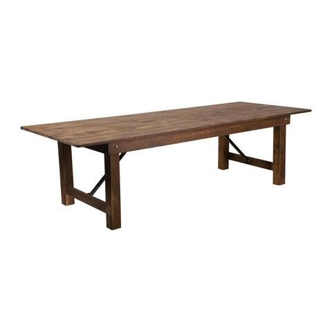 "Flash Furniture Hercules Series 9' x 40"" Rectangular Antique Rustic Solid Pine Folding Farm Table - Brown"