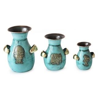 Inca Inheritance  Copper And Bronze Vases (Set Of 3)