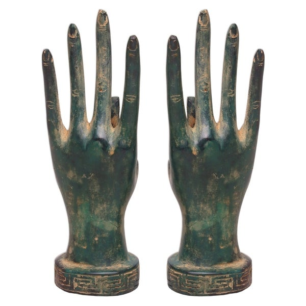 Handmade Hands of A Goddess Bronze Statuettes, Set of 2 (Indonesia). Opens flyout.