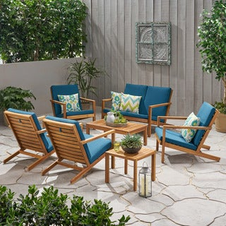 Link to Leah Outdoor 6 Seater Acacia Wood Extended Chat Set by Christopher Knight Home Similar Items in Outdoor Sofas, Chairs & Sectionals