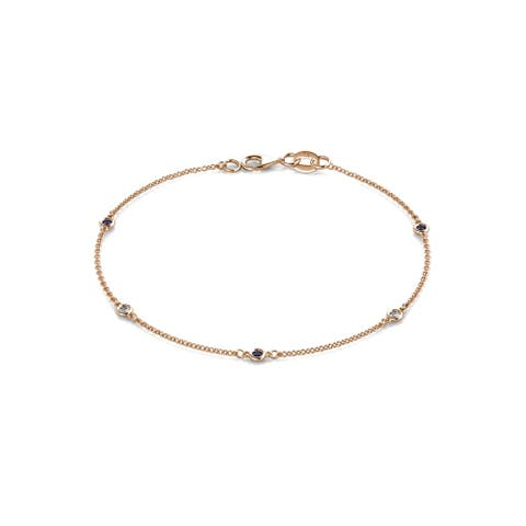 TriJewels Blue Sapphire & Diamond Station Bracelet 0.15 ctw 14KR Gold