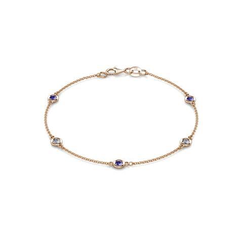 TriJewels Tanzanite & Diamond Station Bracelet 0.47 ctw 14KR Gold
