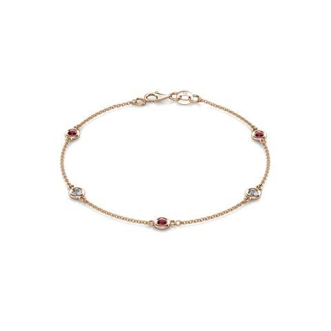 TriJewels Ruby & Diamond Station Bracelet 0.52 ctw 14KR Gold