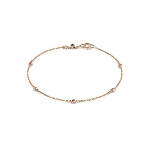 TriJewels Pink Tourmaline & Diamond Station Bracelet 0.13ctw 14KR Gold