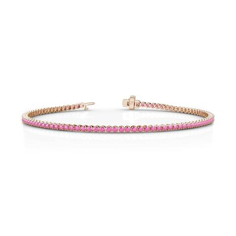 TriJewels Pink Sapphire Women Tennis Bracelet 1.39 ctw 14KR Gold