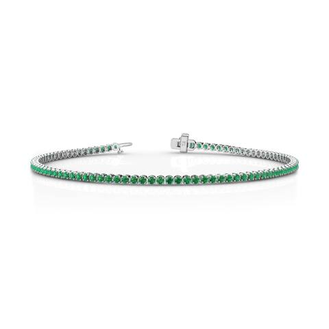 TriJewels Emerald Womens Tennis Bracelet 1.06 ctw 14KW Gold