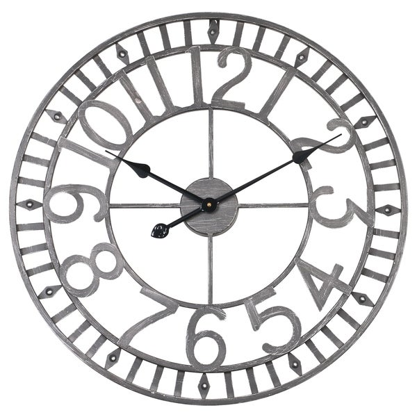 Utopia Alley Manhattan Industrial Wall Clock, Analog, Gray, 24""