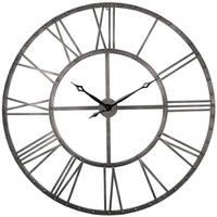"Utopia Alley Rivet Roman Industrial Oversize Wall Clock, Gray, 45"""