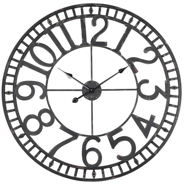 "Utopia Alley Manhattan Industrial Wall Clock, Analog, Black, 32"""
