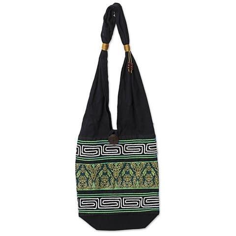 Handmade Spring Green Cotton Blend Shoulder Bag (Thailand)