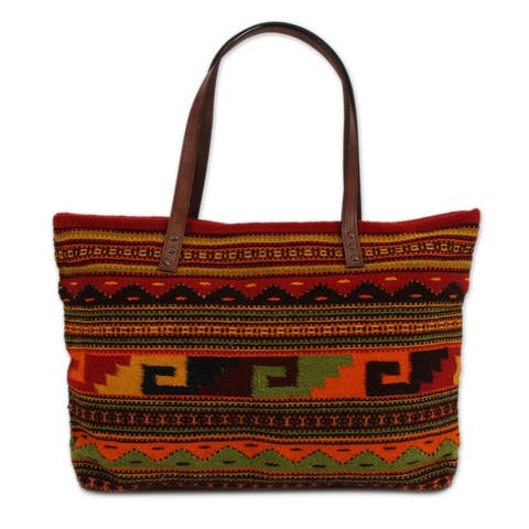 Handmade Geometric Spirals Zapotec Leather Accent Wool Shoulder Bag (Mexico)