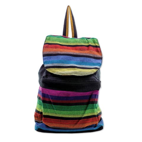 Handmade Tasajera Stripes Cotton Backpack (El Salvador)