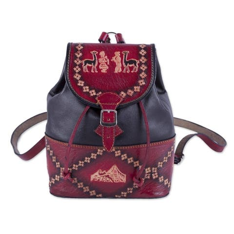 Handmade Ancient Elegance Leather Backpack (peru)