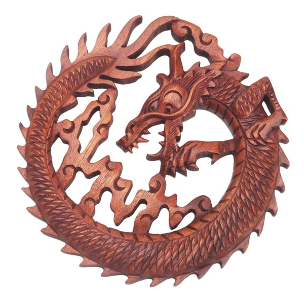 Dragon In The Air Wood Relief Panel