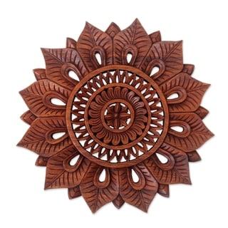 Handmade Sunflower Wood Relief Panel (indonesia)
