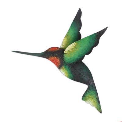 Handmade Delightful Green Hummingbird Steel Wall Sculpture (Mexico)