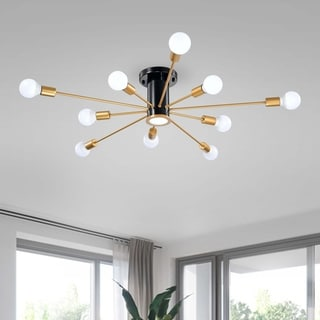 Link to Lorena Sputnik 11-Light Flush Mount in Black and Gold Finish Similar Items in Flush Mount Lights