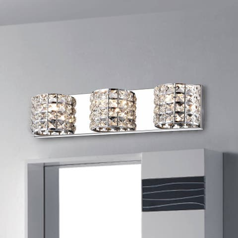 Jolie 3-Light Chrome Wall Sconce with Semicircular Crystal Shade