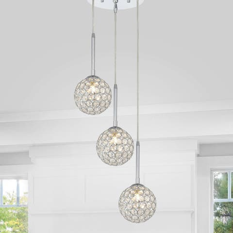 Estela Chrome 3-light Clear Crystal Beaded Ball Cluster Pendant