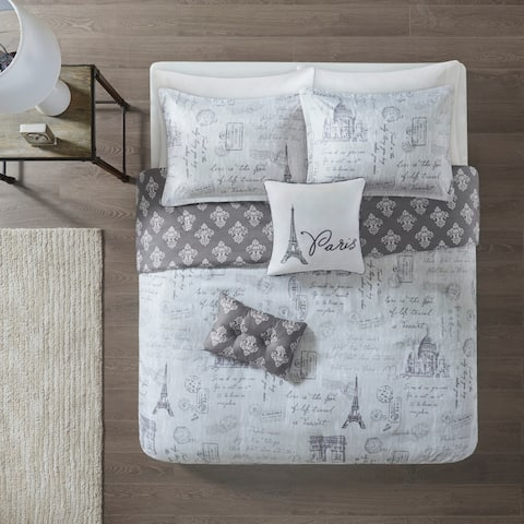 510 Design Mariam Grey/Charcoal 5 Piece Reversible Paris Print Duvet Cover Set