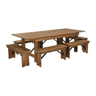 Offex 8' x 40'' Antique Rustic Folding Farm Table and 6 Bench Set