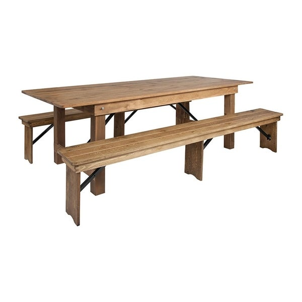 Offex 8' x 40'' Antique Rustic Folding Farm Table and 2 Bench Set