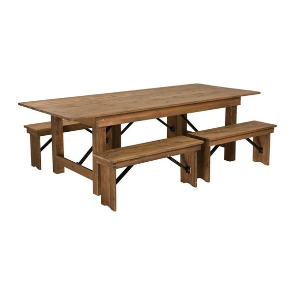 """Offex 8' x 40'' Antique Rustic Folding Farm Table and Four 40.25""""L Bench Set"""