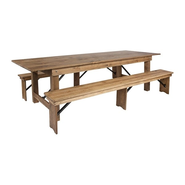 Offex 9' x 40'' Antique Rustic Folding Farm Table and 2 Bench Set