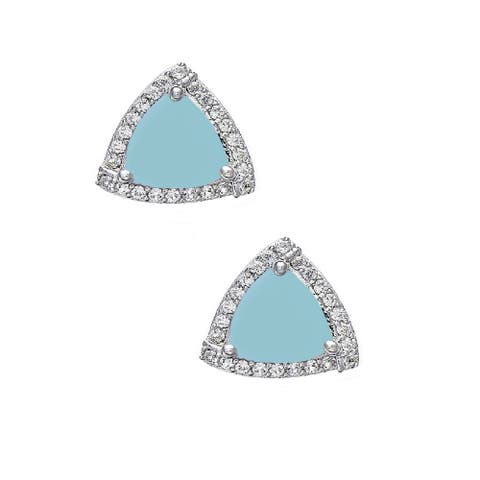 Sterling Silver with Trillion Cut Natural Aquamarine and White Topaz Halo Stud Earring