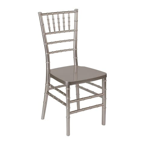 Offex Outdoor Pewter Resin Stacking Chiavari Chair - N/A