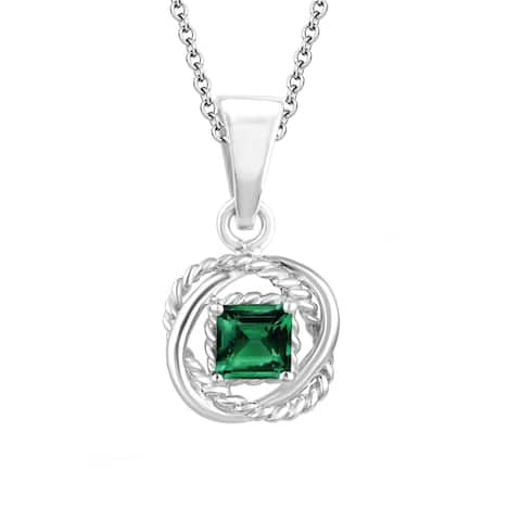 "Sterling Silver with Natural Choice of Gemstone Twisted Wire Pendant with 18"" Chain"