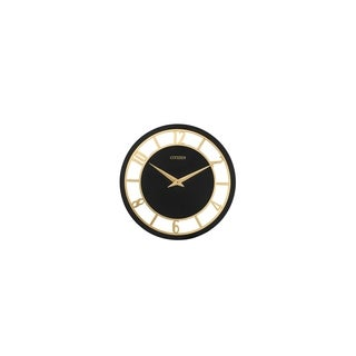 CITIZEN Gallery Gold Numerals and Black Dial Wall Clock