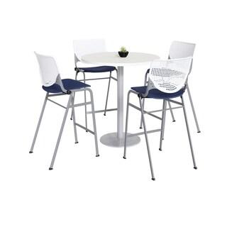 KFI Mode Bistro Table Set, Designer White Top, 4 Kool Stools