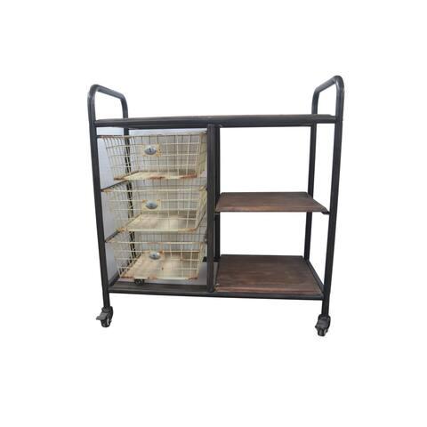 Emerald Home Laurell Hill Dark Grey 3-basket Dining Cart