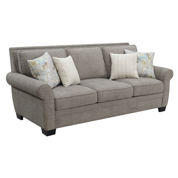 Shop Emerald Home Brookmonte Stone Grey Sofa With 4 Pillow