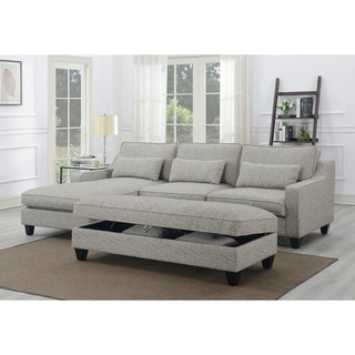 Emerald Home Kenya Tweed Grey Chofa Sectional with 3 Kidney Pillows