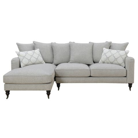 Emerald Home Amelie Beige Tweed Chofa Sectional with Pillows