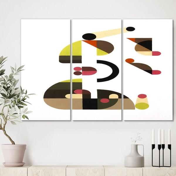 Designart 'Circe Composition in Pink Green And Black II' Premium Mid Century Modern Canvas Wall Art - 36x28 - 3 Panels