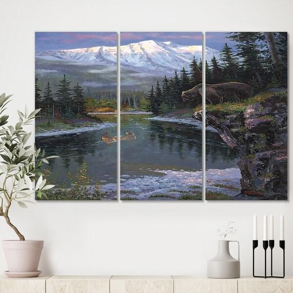 Designart 'Southfork Grizzly' Premium Traditional Canvas Wall Art - 36x28 - 3 Panels