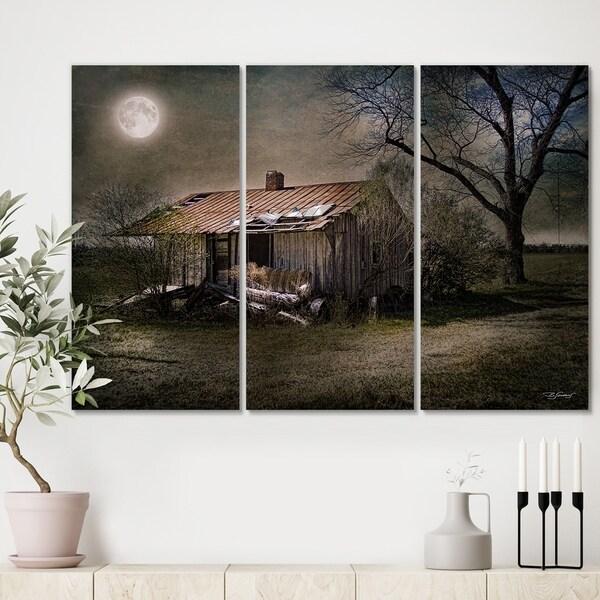 Designart 'Forgotten in Moonlight' Farmhouse Canvas Artwork - 36x28 - 3 Panels
