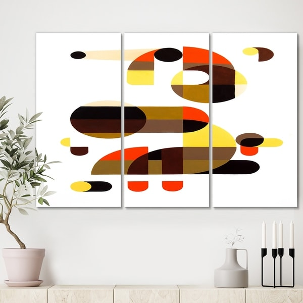 Designart 'In And Out' Mid Century Modern Canvas Artwork - 36x28 - 3 Panels