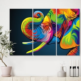 Designart 'The Happy Rainbow Elephant' Modern Canvas Art Print - 36x28 - 3 Panels