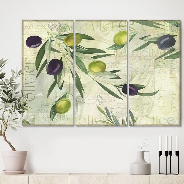 Designart 'Olives de Nice' Cottage Canvas Artwork - 36x28 - 3 Panels