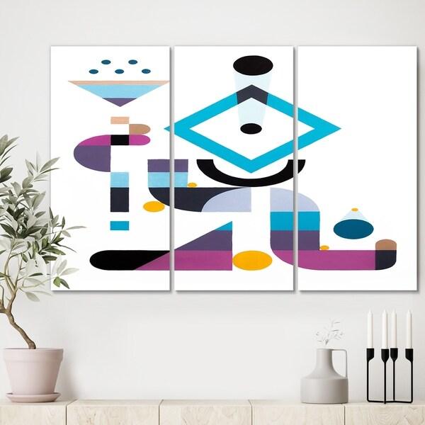 Designart 'Blue Diamond Arrangement' Mid Century Modern Canvas Artwork - 36x28 - 3 Panels