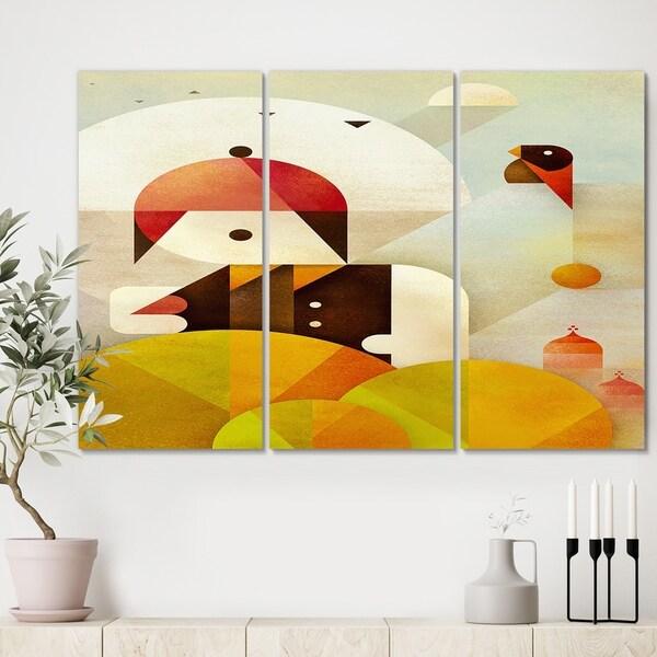 Designart 'Young Man With Red Bird' Mid Century Modern Canvas Wall Art - 36x28 - 3 Panels